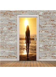 30×79in Woman Facing Back to the Sun PVC Environmental and Waterproof 3D Door Mural
