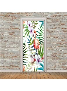 30×79in Flamingos and Plants PVC Environmental and Waterproof 3D Door Mural