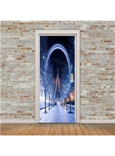 30×79in Night Sky Shiny Building with Trees PVC Environmental and Waterproof 3D Door Mural