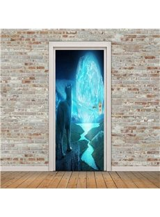 30×79in Woif with Lit Stones PVC Environmental and Waterproof 3D Door Mural
