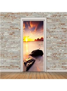 30×79in Sunset Clouds and Stones PVC Environmental and Waterproof 3D Door Mural