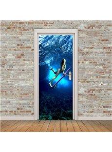 30×79in Underwater Woman with Skateboard PVC Environmental and Waterproof 3D Door Mural