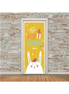 30×79in Lovely Rabbit and Words PVC Environmental and Waterproof 3D Door Mural
