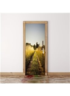 30×79in Crops and Roads PVC Environmental and Waterproof 3D Door Mural