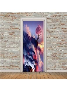 30×79in Cloudy Mountains PVC Environmental and Waterproof 3D Door Mural