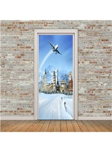 30×79in Plane Flies over Snow Mountains PVC Environmental and Waterproof 3D Door Mural