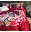 Luxury Spring Flowers Printed 4-Piece Long-staple Cotton Red Bedding Sets/Duvet Cover