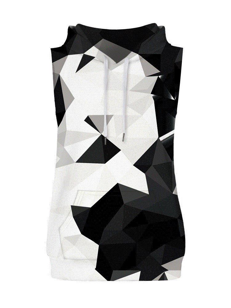 Monochrome Geometric Block Sleeveless Pullover Hooded Men Fashion T-shirt