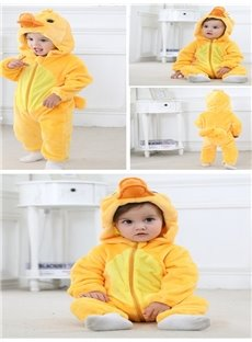 3D Cute Animals Shaped Flannel Baby Jumpsuit