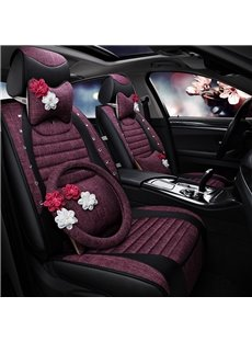 Smooth Comfortable Cloth Material Flower Ornament Universal Car Seat Cover