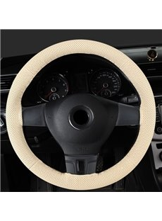 Textured Genuine PU Leather Hand-stitched Steering Wheel Cover