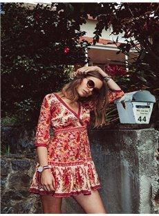 Female Bohemia Floral Style Red Colour Beach dress