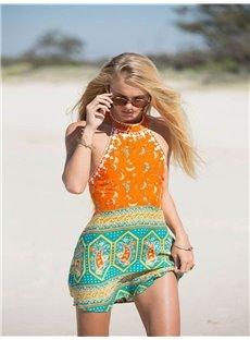 Bohemian Style Orange And Blue Colour Summer Womens' Beach Wear Cover up Beach Dress