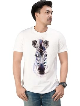 Round Neck Cotton Animal Zebra Casual Men's Funny T-Shirts Top Tee Birthday Gift 3D Painted T-Shirt