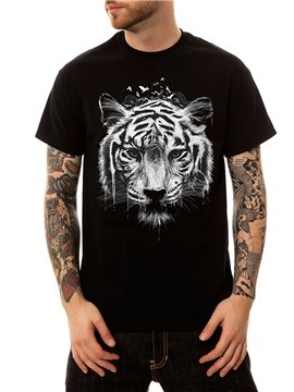Streetwear Tiger Casual Men's Funny T-Shirts Round Neck Top Tee 100% Cotton 3D Painted T-Shirt