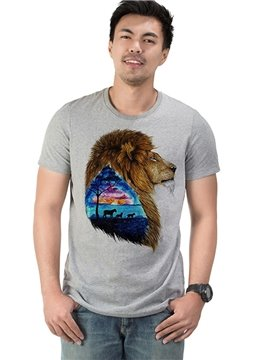 Fashion mens 100% Cotton Printed Lion Casual Men's Funny T-Shirts Round Neck Top Tee 3D Painted T-Shirt