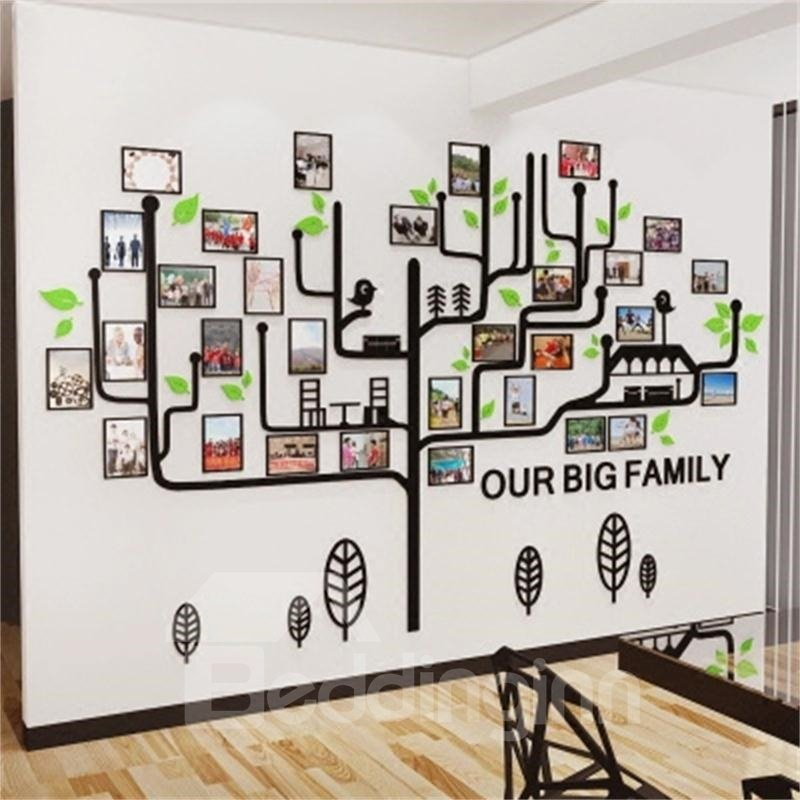 Photo Frame Simple Tree Country Style Acrylic 3D Waterproof Photo Frames Wall Stickers