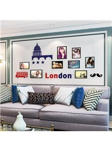 Red Car and London Words Country Style Acrylic 3D Waterproof Photo Frames Wall Stickers