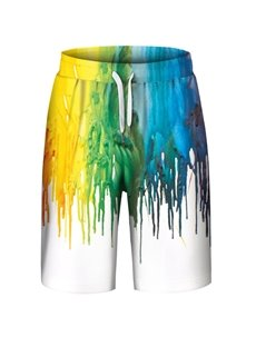 Colorful Pattern Loose Model Elastics Closure Type Polyester Material Beach Shorts