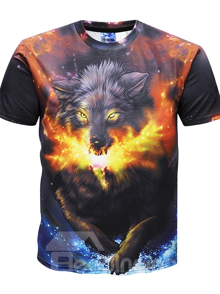 f75e415c9fb3 Psychedelic Wolf Round Neck Men 3D Graphic Print Short Sleeve Tee ...