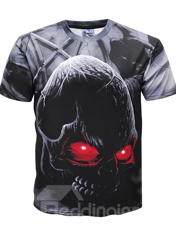 T-Shirt   Sleeve   Skull   Round   Short   Print   Neck   Hot   Tee   Men   Top   3D