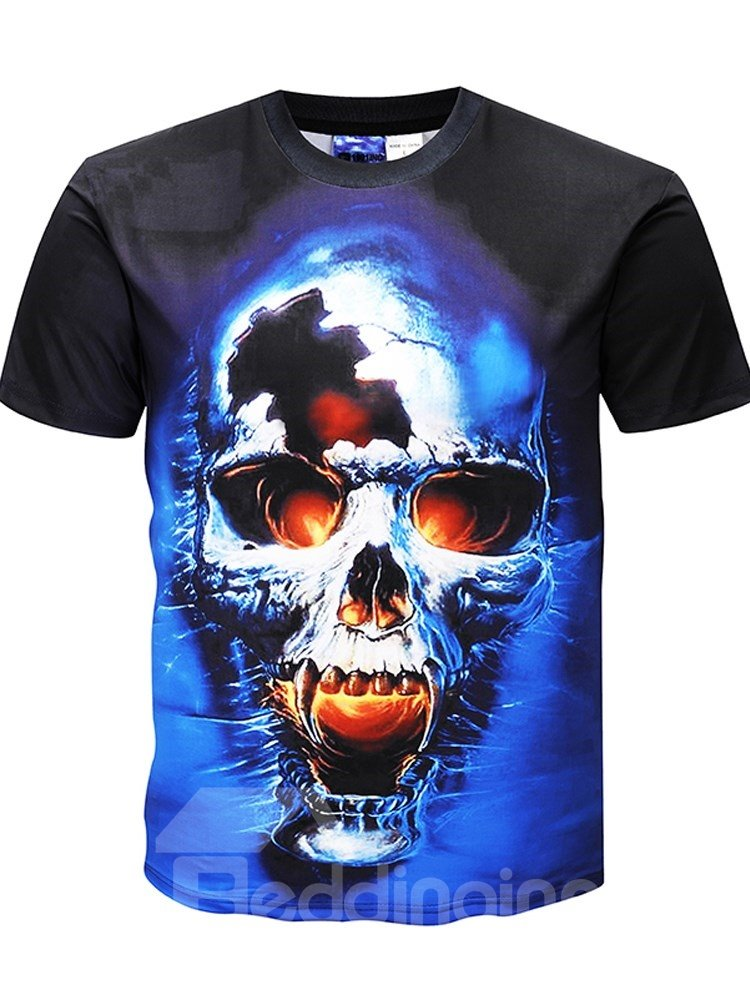 Fashion | T-Shirt | Casual | Sleeve | Skull | Round | Short | Print | Neck | Tee | Men | Top | 3D