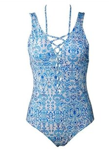 Women Blue and White One Piece Bandage Monokini Push Up Padded Bikini Swimsuit