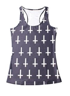 Vest Hot Women 3D Cross Printing Sleeveless Fashion Funny Tank Top