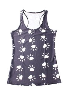 Footprint Fashion Women 3D Printing Sleeveless Funny Hot Tank Top Vest