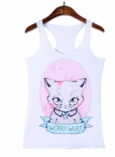 Hot Women 3D Cat Printing Sleeveless Fashion Funny Tank Top Vest
