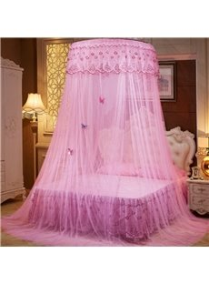 Pink Round Lace Dome Polyester Lightweight Canopy Mosquito Net