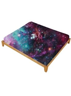 3D Stars and Multicolored Galaxy Printed Cotton Fitted Sheet