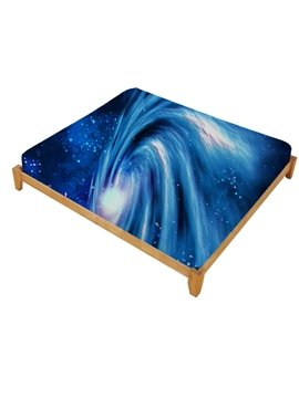 3D Spiral Galaxy Universe Printed Cotton Fitted Sheet