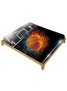 3D Basketball Ball in Fire and Water Printed Cotton Fitted Sheet