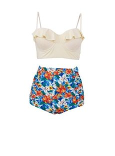 Crop Flounce Floral Two-Piece High Waisted Women Swimwear Bikini Set
