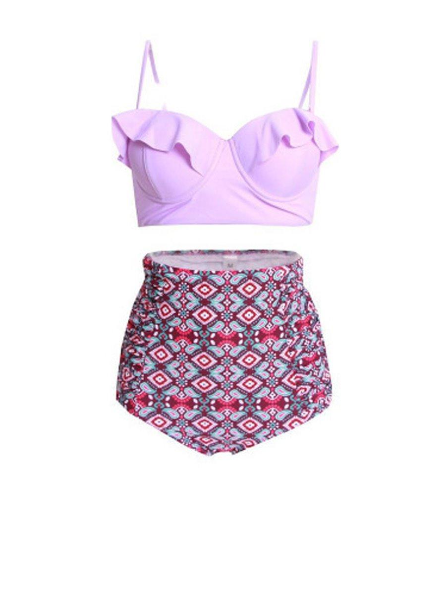 Crop Flounce Floral Two-Piece High Waisted Women Swimwear Bikini Set