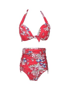 Women Floral Two-Piece Bandage High Waisted Swimwear Bikini Set