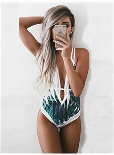 Deep-V Women Printing One Piece Backless Swimwear Monokini