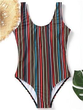 Striped Women One Piece Backless Swimwear Monokini