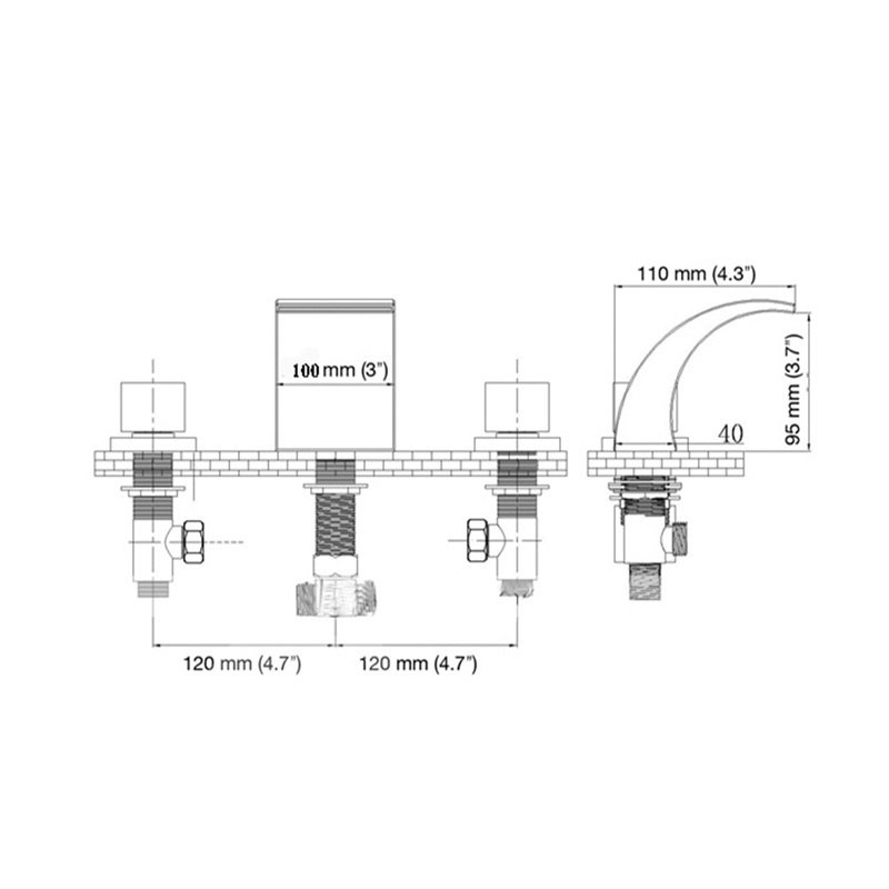 Bathroom Sink Deck Mount Waterfall Basin Mixer 3 Holes 2 Handles
