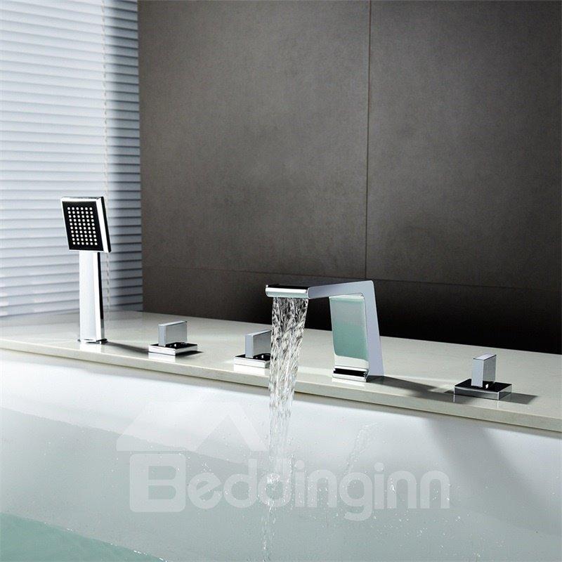 ... Deck Mount 5pcs Waterfall Bathtub Faucet Five Holes Three Handles
