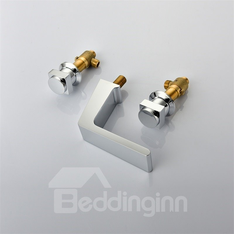 Deck Mount 3PCS Waterfall Basin Mixer Three Holes Two Handles