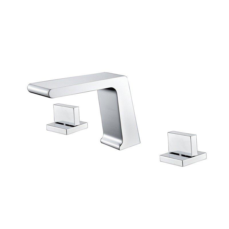 Bathroom Sink Faucet Deck Mount 3pcs Waterfall 3 Holes 2 Handles