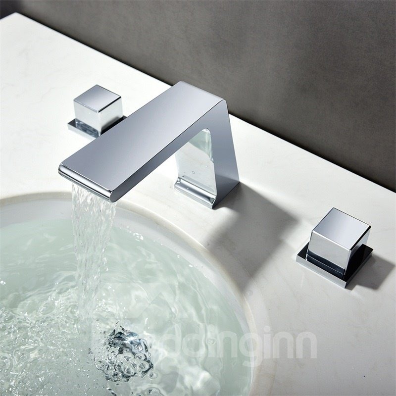 Bathroom Sink Deck Mount 3PCS Waterfall Basin Mixer