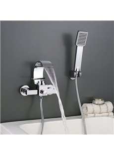 Waterfall Wall in Bathtub Faucet Chrome Finish Hand Shower