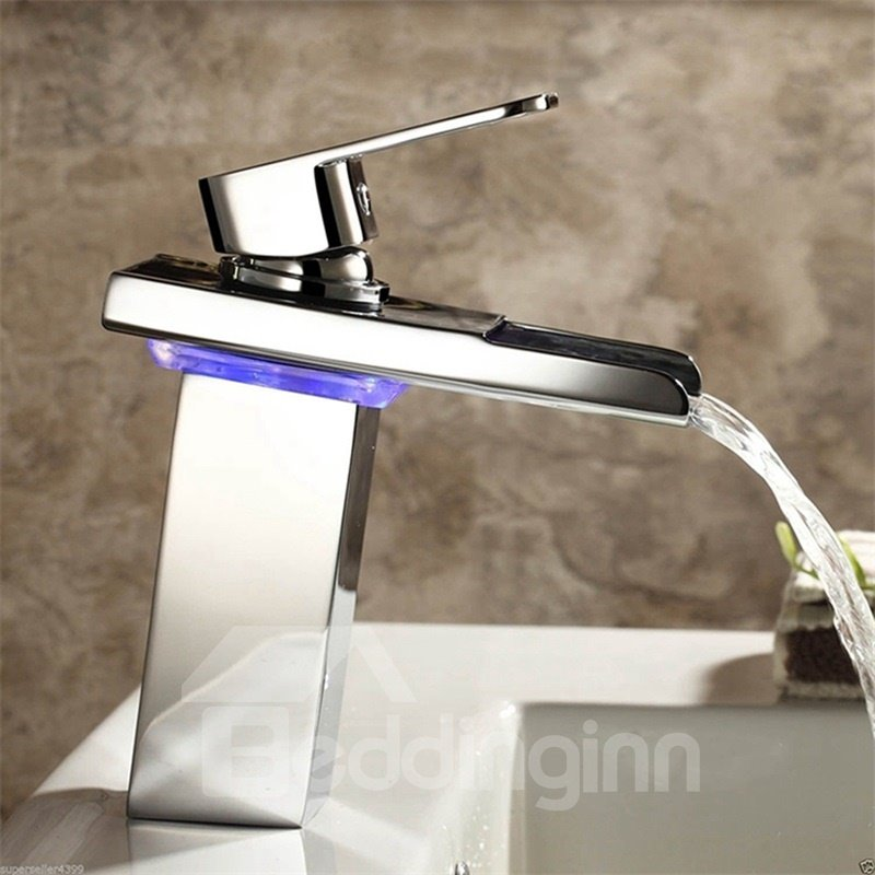 Square Waterfall LED Bathroom Sink Faucet One Hole One Handle
