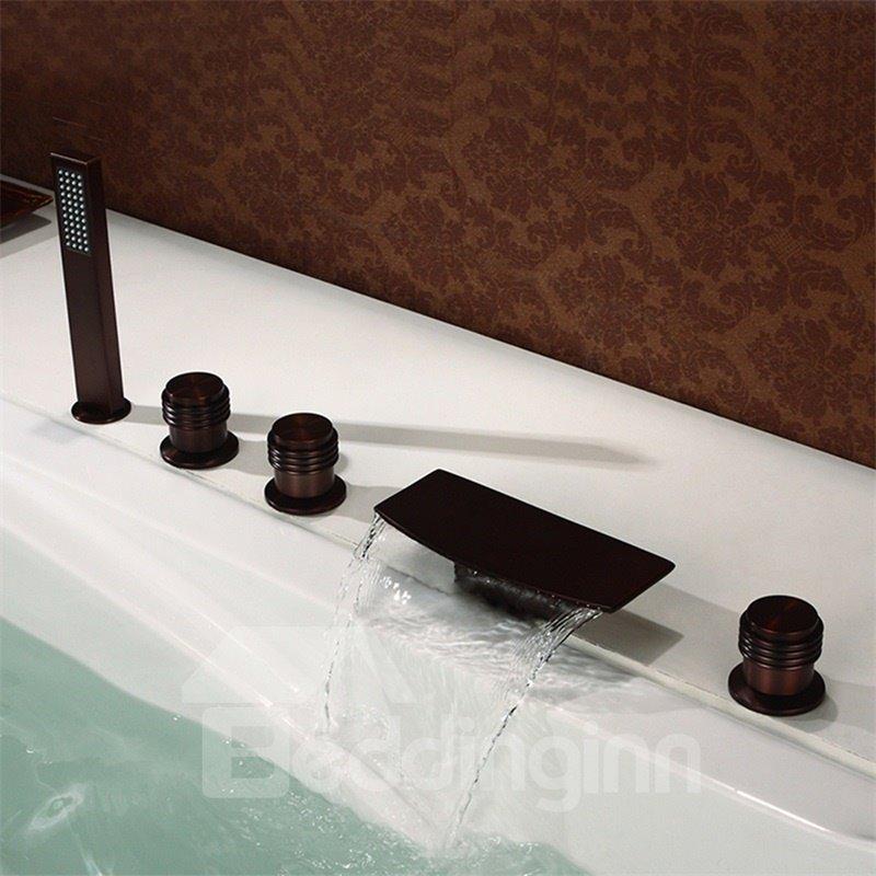 45 Brassu0026Stainless Steel 5PCS Waterfall Bathtub Faucet Five Holes Three  Handles