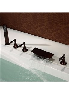 ORB 5PCS Waterfall Bathtub Faucet Five Holes Three Handles