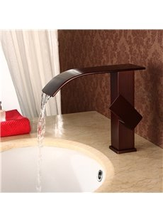Brass&Stainless Steel Square ORB Waterfall Faucet One Hole One Handle