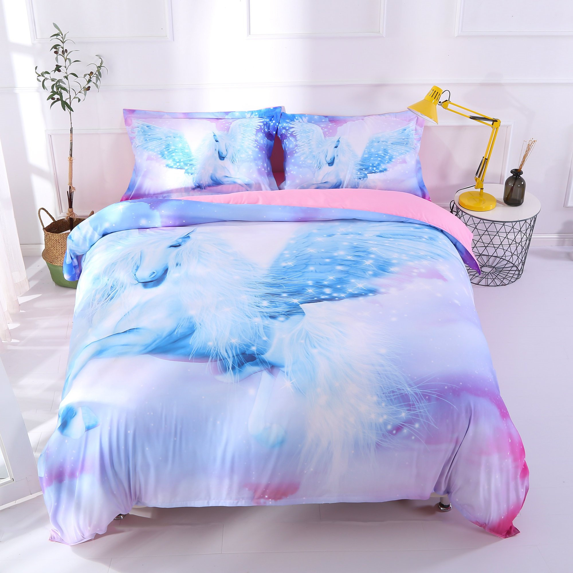 Vivilinen White Unicorn with Wings Printed 4-Piece 3D Bedding Sets/Duvet Covers